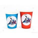 Чашки едноцветни в червено с декор Батман и Супермен   102PODARAKA.COM
