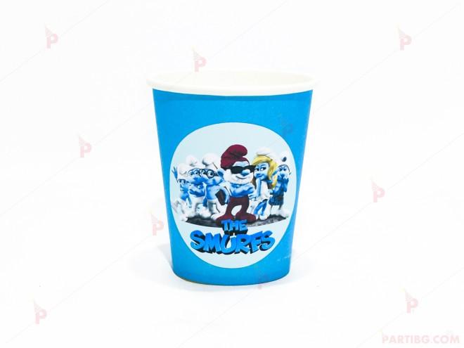 Чашки едноцветни в синьо с декор Смърфовете / The smurfs   102PODARAKA.COM