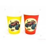 Чашки едноцветни в жълто с декор Пламъчко и машините/Blaze | 102PODARAKA.COM