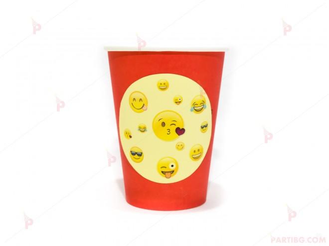Чашки едноцветни в червено с декор Усмивки / Emoji   102PODARAKA.COM