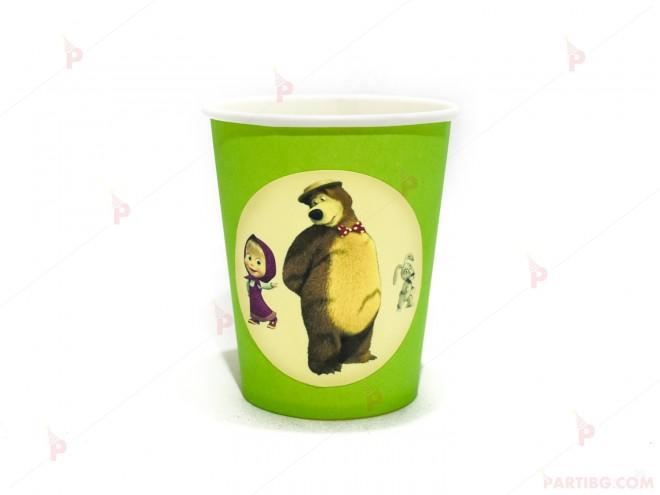 Чашки едноцветни в зелено с декор Маша и Мечока / Masha and The Bear | 102PODARAKA.COM
