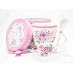 Чаша за чай в подаръчна кутия - бяла с цветя | 102PODARAKA.COM