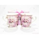 Две чаши с декор цветя в подаръчна кутия 3   102PODARAKA.COM