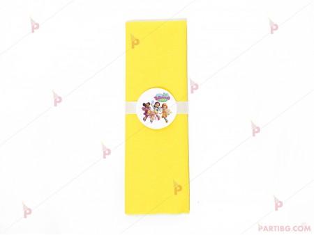 Салфетка едноцветна в жълто и тематичен декор  с декор Кафенето на Масленка/Butterbean's cafe