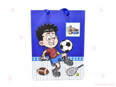 Подаръчна торбичка с футболен декор