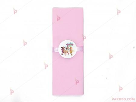 Салфетка едноцветна в розово и тематичен декор  с декор Кафенето на Масленка/Butterbean's cafe