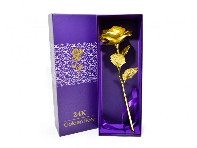 Златна роза в кутия с подаръчна торбичка   102PODARAKA.COM