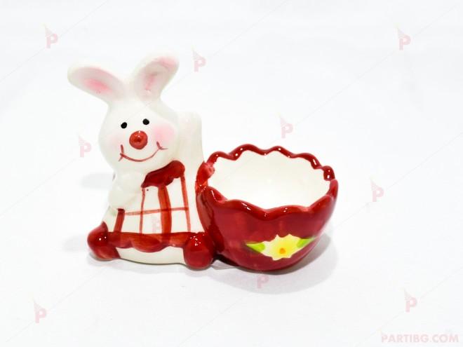 Керамична поставка за яйце с зайче 3 | 102PODARAKA.COM
