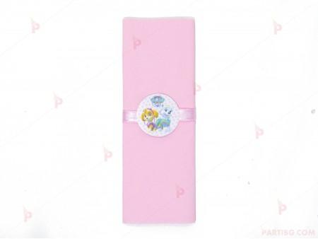 Салфетка едноцветна в розово и тематичен декор Пес Патрул / Paw Patrol-Скай и Еверест