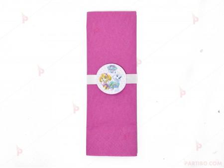 Салфетка едноцветна в циклама и тематичен декор Пес Патрул / Paw Patrol-Скай и Еверест