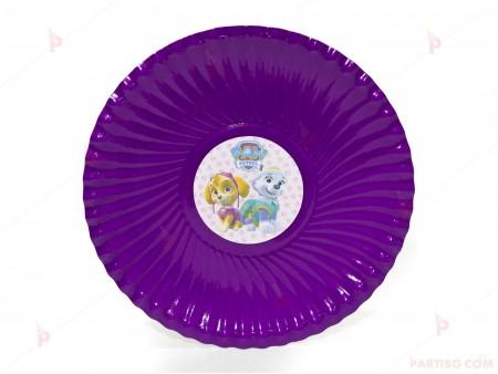 Чинийки едноцветни в лилаво с декор Пес Патрул / Paw Patrol-Скай и Еверест