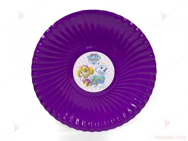 Чинийки едноцветни в лилаво с декор Пес Патрул / Paw Patrol-Скай и Еверест | 102PODARAKA.COM