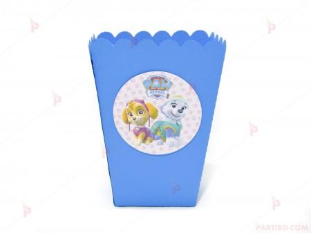 Кофичка за пуканки/чипс с декор Пес патрул-Скай и Еверест в синьо
