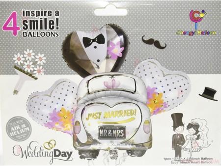 """Фолиеви балони комплект от 4 бр.- младоженци """"Wedding day"""""""