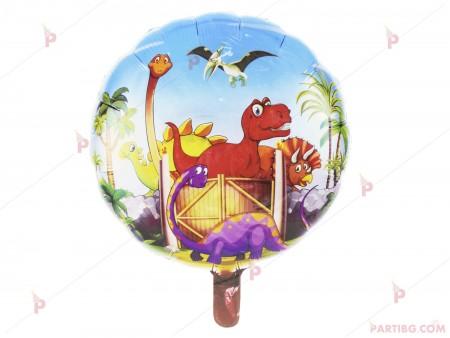 Фолиев балон кръгъл с динозаври