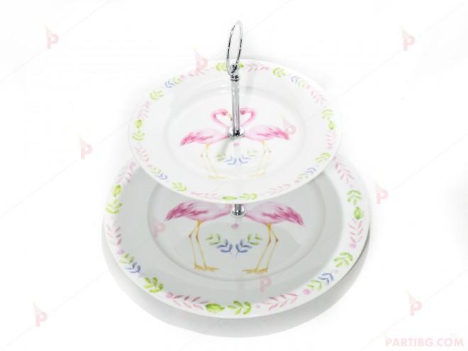 Стойка/поставка за кексчета и сладки порцеланова с фламинго в кутия   102PODARAKA.COM